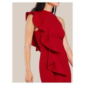 Deep Red Sleeveless Ruffle Bodycon Dress